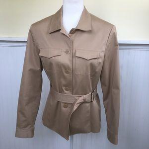 Nine & Co. Khaki Button-Up Belted Blazer Size 8